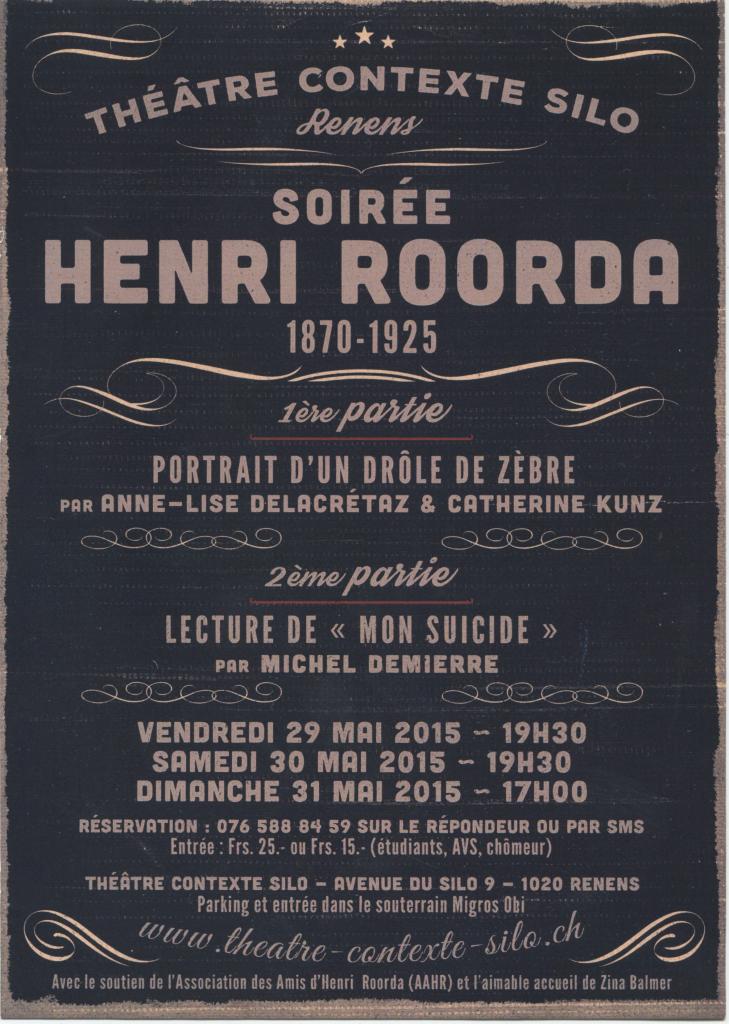 Affiche des soirée Henri Roorda en mai 2015